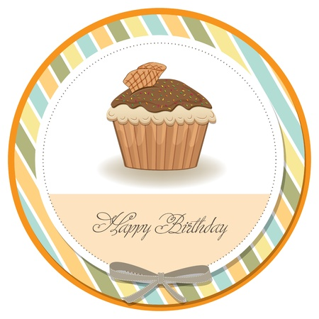 brown sugar: cute happy birthday card with cupcake  vector illustration Illustration