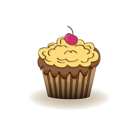 Verjaardag cupcake, Geïsoleerd Op Witte Achtergrond Vector Illustratie