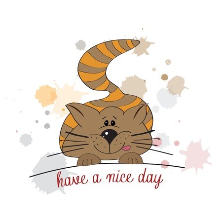 nice day: cute kitty wishes you a nice day
