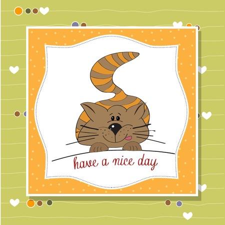 babyish animal: cute kitty wishes you a nice day