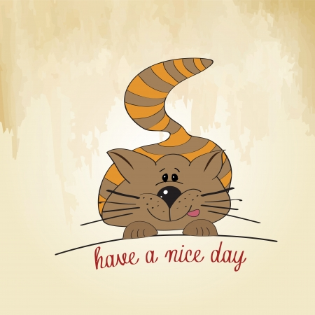 cute kitty wishes you a nice day Stock Vector - 16125892