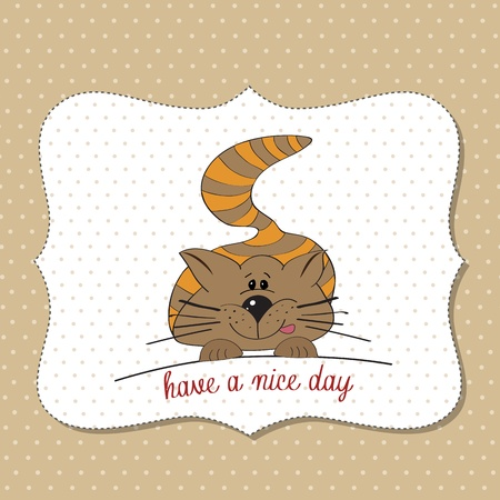 cute kitty wishes you a nice day Vector