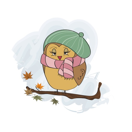 cute female bird on the branch Vector