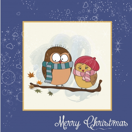 template of Christmas card with funny birds Vector
