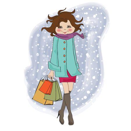 물결: 쇼핑 가방과 함께 유행 겨울 소녀