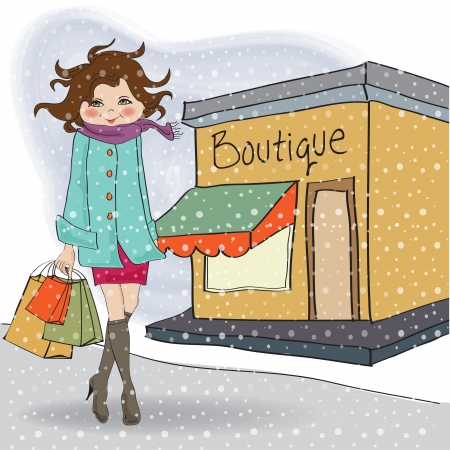 glamour shopping: fashion winter girl with shopping bags