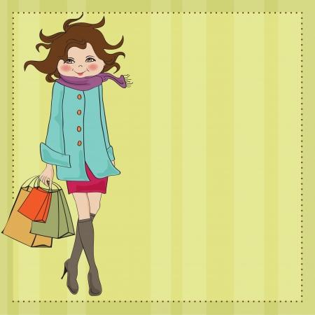 shopping cartoon: beautiful young woman at shopping