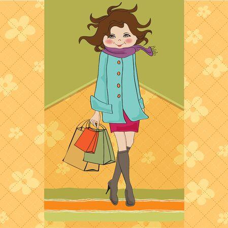 woman scarf: beautiful young woman at shopping