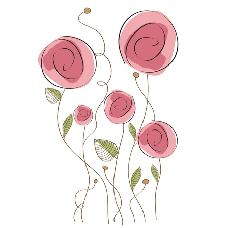 cute border: delicate floral background Illustration