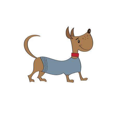 cowl: puppy dressed in fancy winter jacket Illustration