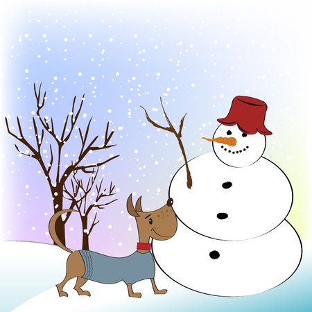 Christmas greeting card with funny snowman and happy dog Vector