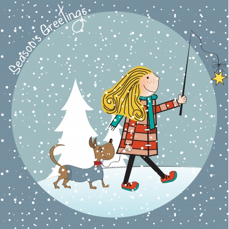Funny girl and her dressed dog in a beautiful Christmas card Illustration