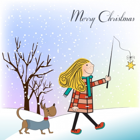 Funny girl and her dressed dog in a beautiful Christmas card Vector