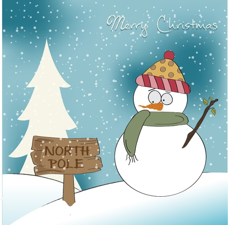 north pole sign: Christmas greeting card with funny snowman Illustration