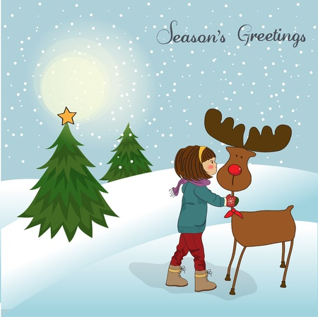 caress: Christmas card with cute little girl caress a reindeer  illustration Illustration