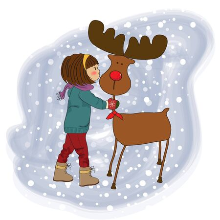 Christmas card with cute little girl caress a reindeer   illustration Vector