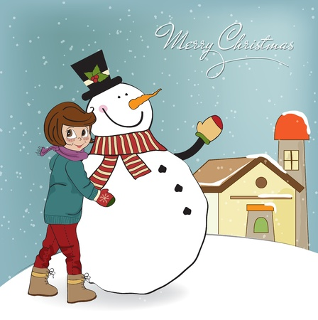 Cute little girl with snowman illustration Vector