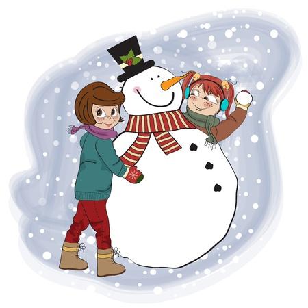 winter fun: two happy girls building a snowman illustration Illustration