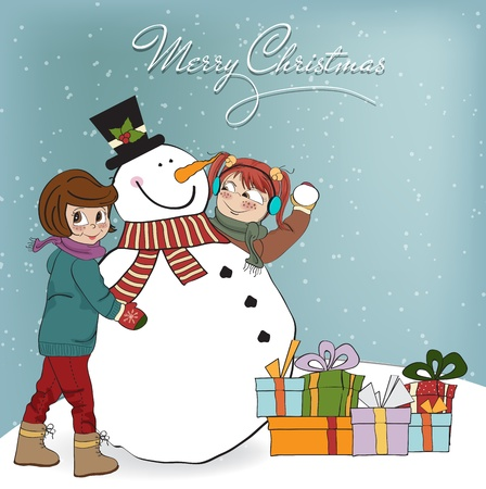 two happy girls building a snowman  illustration Vector