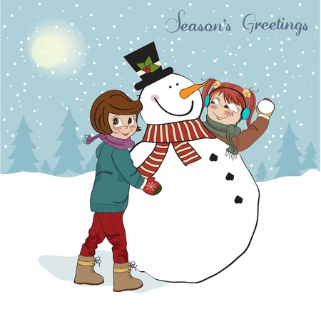 pretty smile: two happy girls building a snowman illustration Illustration