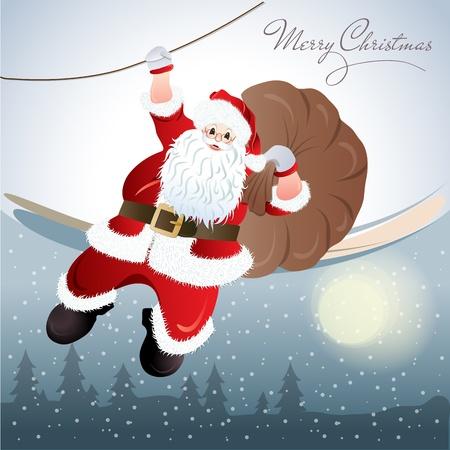 papa noel: Santa Claus, greeting card design in format