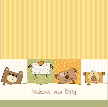 baby background: baby shower card with funny cube animals