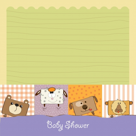 happy birthday girl: baby shower card with funny cube animals