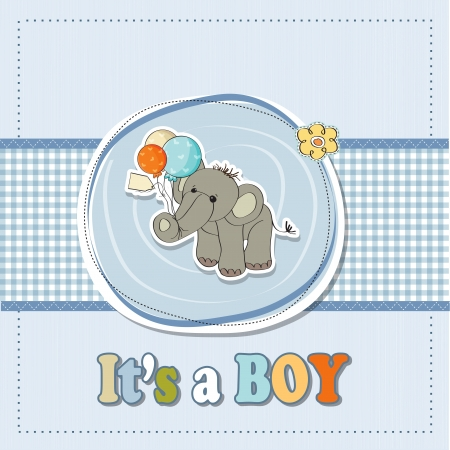 baby elephant: baby boy shower card with elephant and balloons