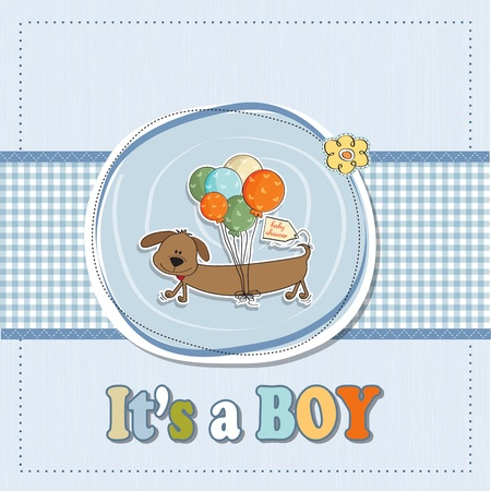 baby shower card with long dog and balloons Stock Vector - 16687074