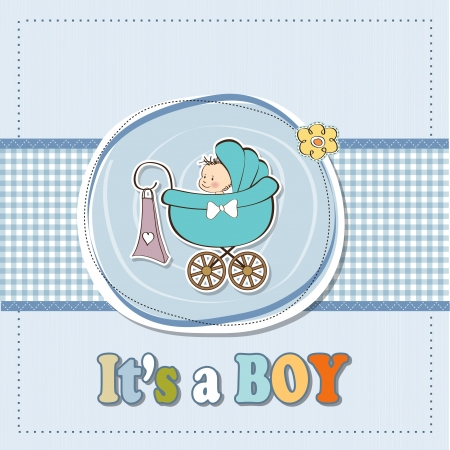 baby boy cartoon: baby boy announcement card with baby and pram