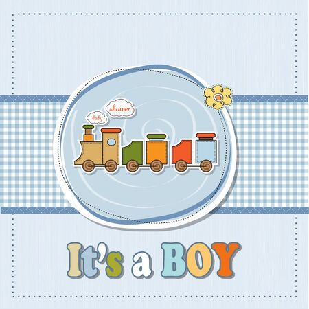 baby shower card with toy train Stock Vector - 16687067