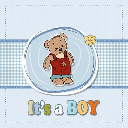 overol: beb� ducha tarjeta con gracioso osito de peluche
