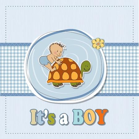 funny baby boy announcement card Stock Vector - 16687071