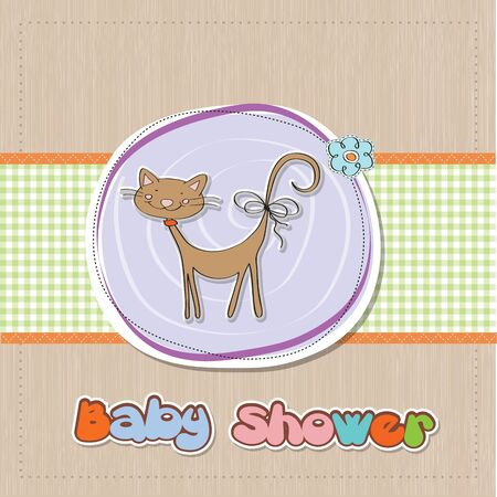 new baby shower card with cat Stock Vector - 16687080