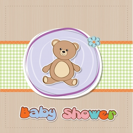 baby border: baby shower card with teddy