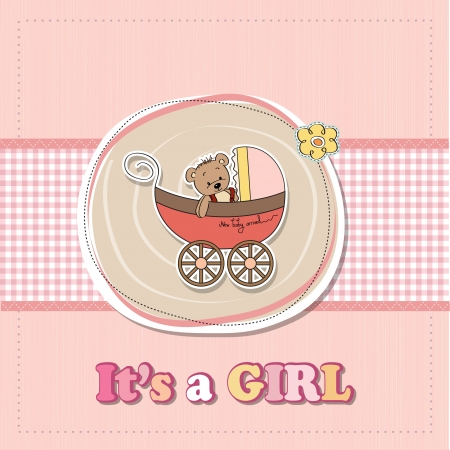 baby carriage: funny teddy bear in stroller, baby announcement card