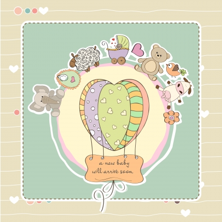 cute baby shower card with animals and toys Vector