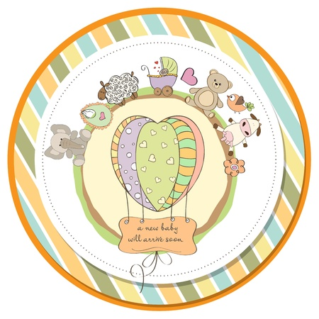 moments: cute baby shower card with animals and toys