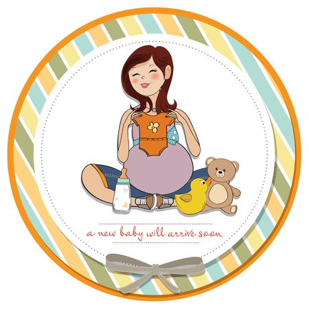 happy pregnant woman, baby shower card Stock Vector - 17127305