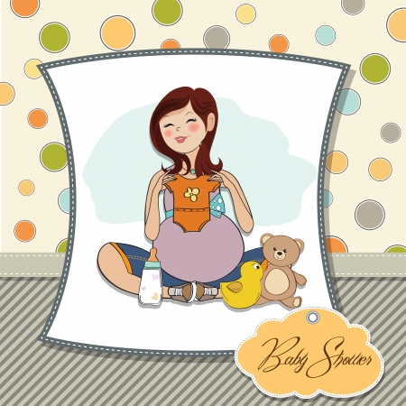 happy pregnant woman, baby shower card Vector