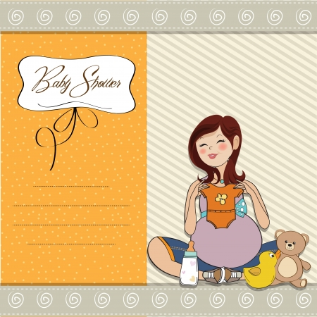 single parent: happy pregnant woman, baby shower card