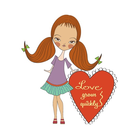 happy birthday girl: pretty young girl in love, valentine s day card