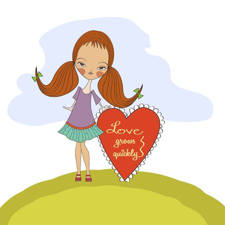 pretty young girl in love, valentine s day card Stock Vector - 17185118