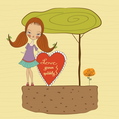 pretty young girl in love, valentine s day card Stock Vector - 17185122