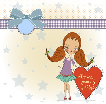 pretty young girl in love, valentine s day card Stock Vector - 17185143