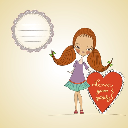 pretty young girl in love, valentine s day card Stock Vector - 17185119