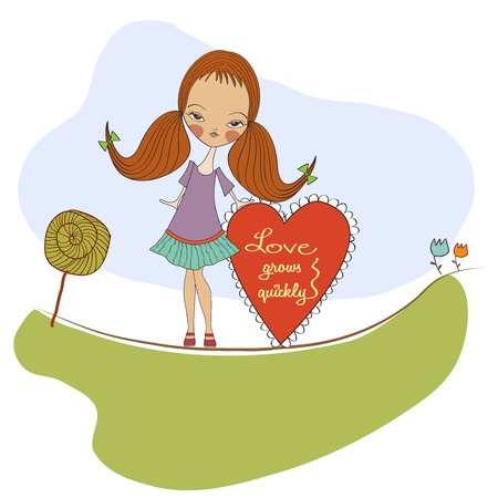 pretty young girl in love, valentine s day card Stock Vector - 17185141