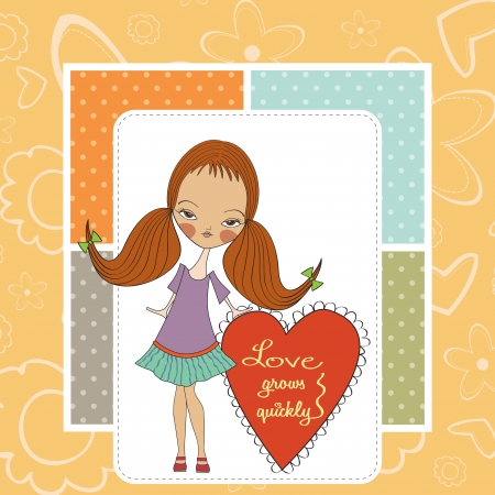 pensiveness: pretty young girl in love, valentine s day card