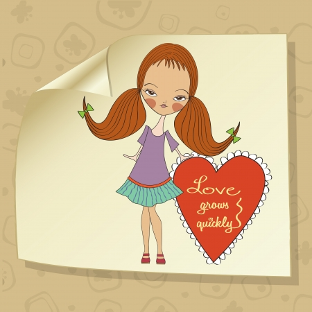 women s day: pretty young girl in love, valentine s day card
