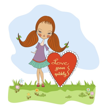 pretty young girl in love, valentine s day card Stock Vector - 17185121